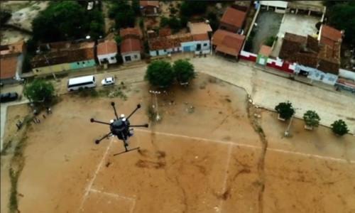 An aerial drone in flight